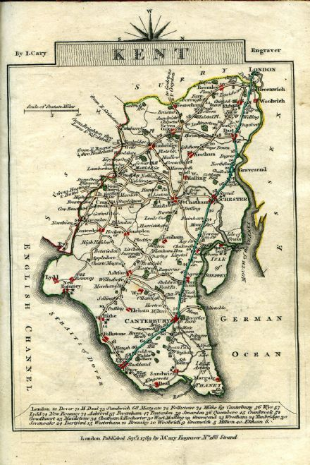 Kent County Map by John Cary 1790 - Reproduction